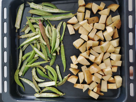 Okra Fries (Lalo) and Potato Wedges (Baked)