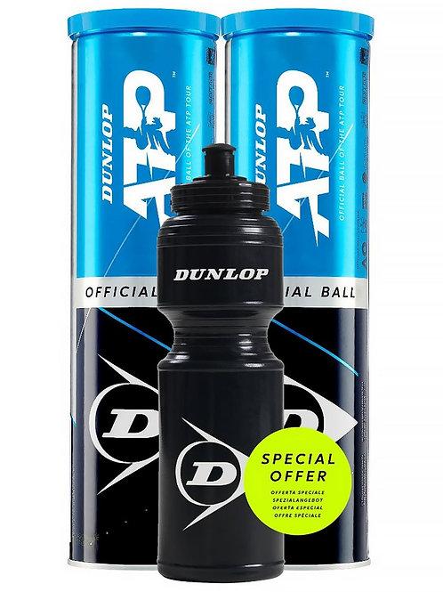 Dunlop ATP 2er-Pack Tennisbälle & Wasserflasche