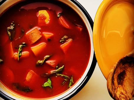 Tomatgryde med butternut og sødkartofler