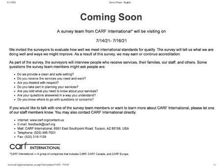 CARF client families Survey