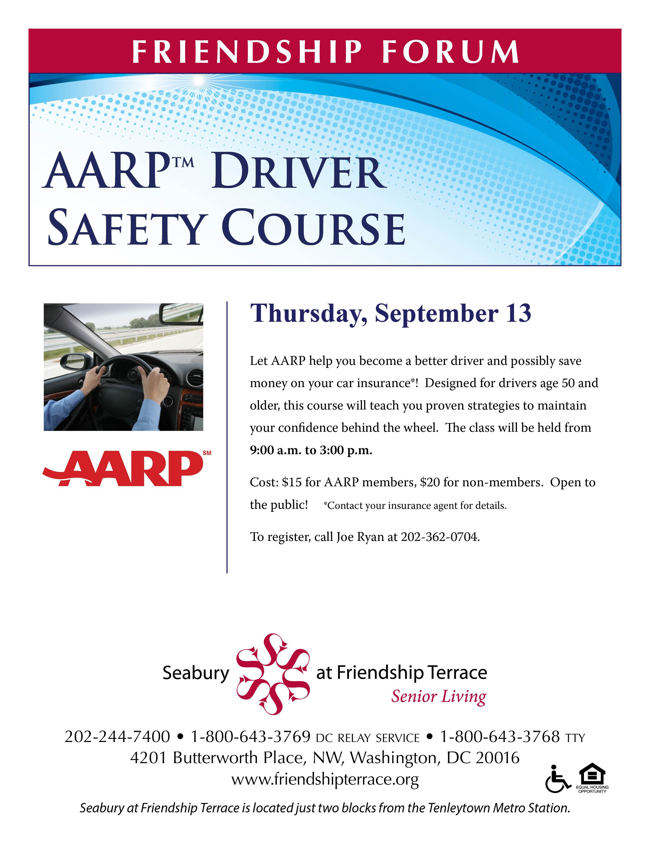 Aarp Driver Safety Course At Friendship Terrace Seabury Resources Cost Of Electromagnetic Relay For Aging
