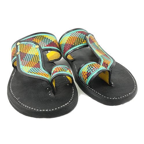 Men's Leather Sandal (Black w/Plaid)