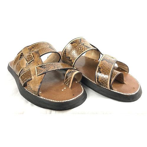 Men's Snakeskin Sandal (Light Brown w/Black)