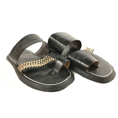 Men's Leather Sandal (Black & Tan)