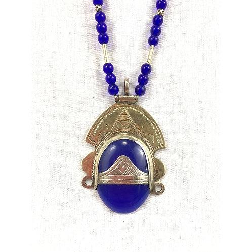 Lapis Lazuli Pyramid Pendant Necklace
