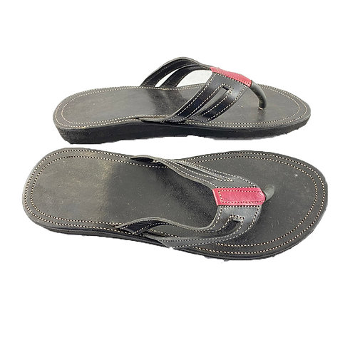 Women's Leather Sandals (Black with Majenta)