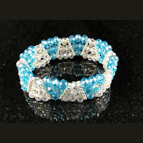 Beaded Bracelet (Aqua & White)