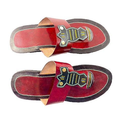 Women's Leather Sandals (Red with black, turquoise, mustard medallion)