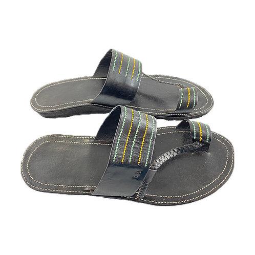 Women's Leather Sandals (Black)