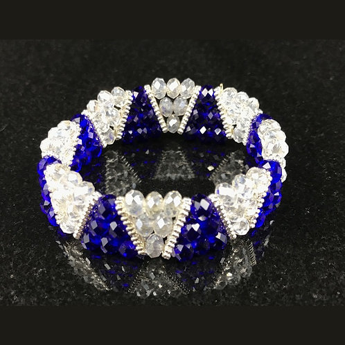 Dark Blue and White Beaded Bracelet