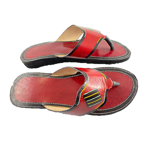 Women's Leather Sandals (Red with black, turquoise, mustard design)