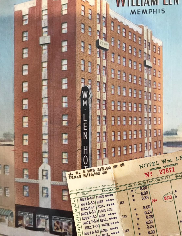 William Len Hotel in Memphis, TN with original room invoice