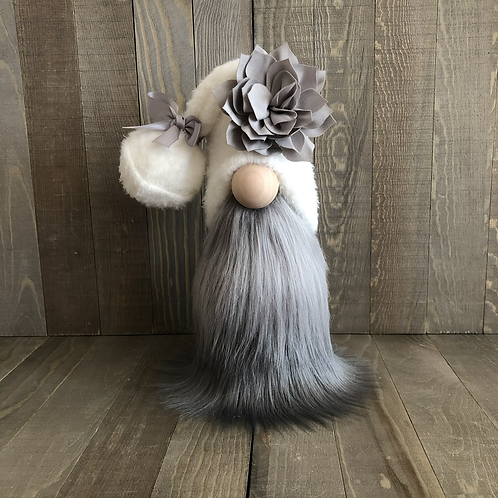 Grey Flower Tall Tiered Tray Gnome