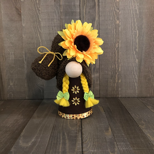 Brown Sunflower Girl Gnome