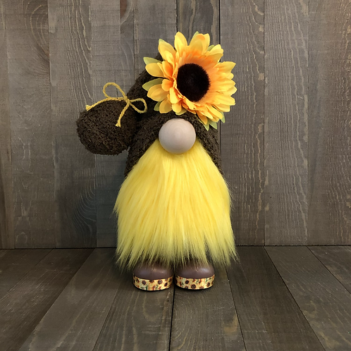 Brown Sunflower Gnome with Boots