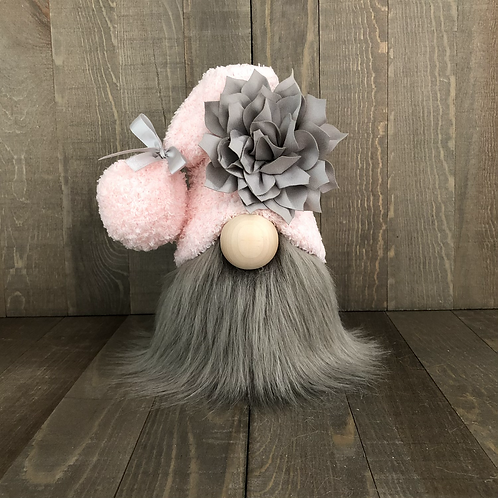 Pink and Grey Flower Tiered Tray Gnome