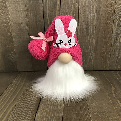 Easter Pink Bunny Tiered Tray Gnome