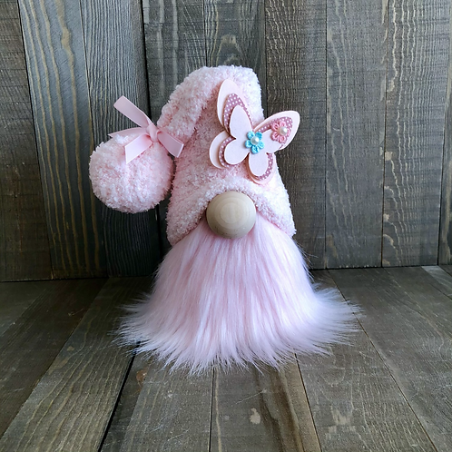 Pastel Pink Butterfly Tiered Tray Gnome