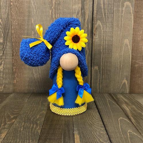 Blue Sunflower Girl Gnome