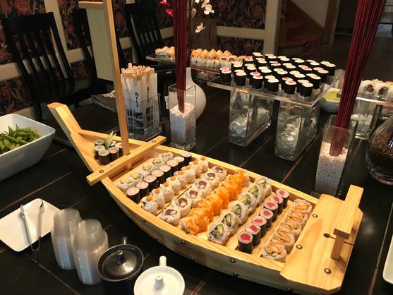 Sushi rolls boat
