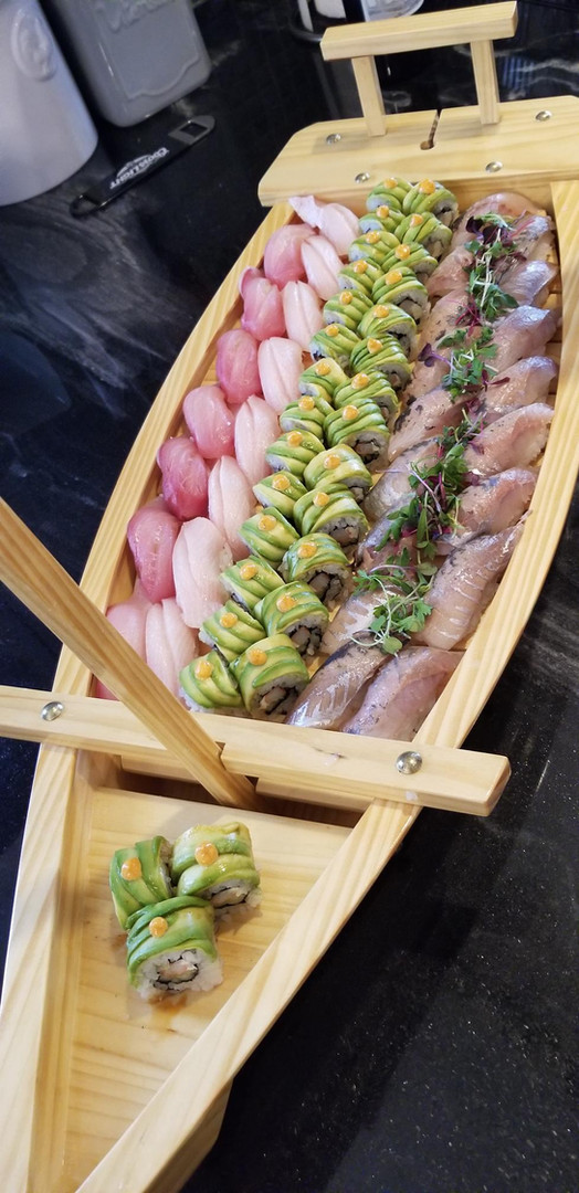 Assorted sushi boat