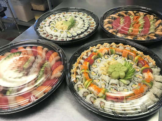 Sushi delivery platters