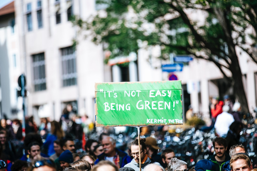 A green protest, calling for change towards sustainable living