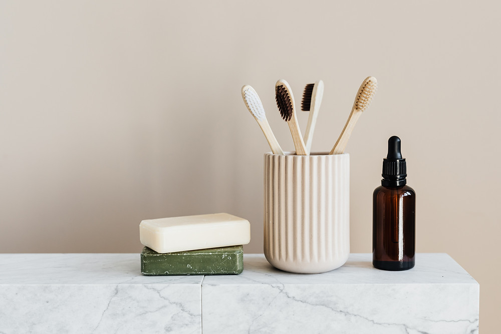 Bamboo toothbrush, soap bars, essential oils