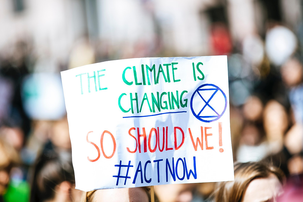 Climate change protest banner