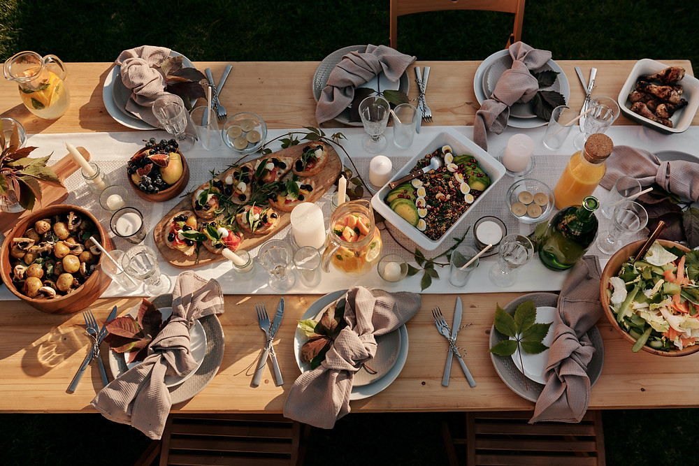 A Christmas feast on a wooden table