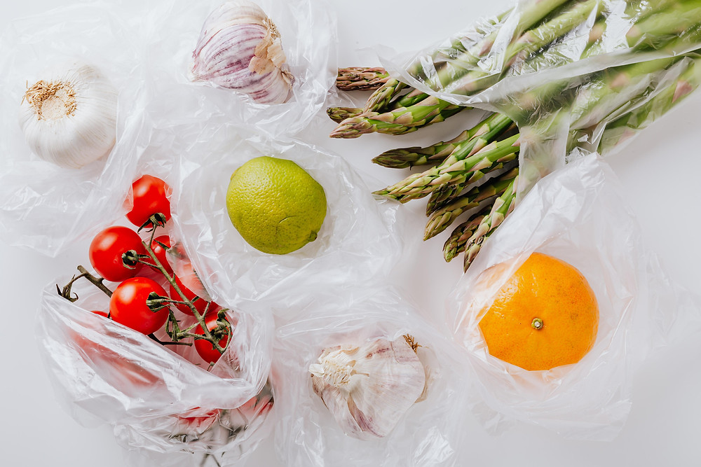 Fruits and vegetables wrapped with single-use plastic