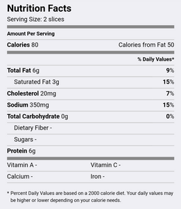 Nutrition Facts (screenshot from FatSecret app)