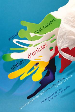 Affiche saison culturelle Jeune Public  Prise de vue en studio  d'une composition sur  le thème des transformations prévues (la future construction d'un théâtre)  Fontenay-en-scène (2010)