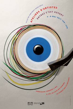 Affiche culturelle   Prise de vue en studio  d'une composition sur  le thème du regard  de l'artiste  Fontenay-en-scène (2011)