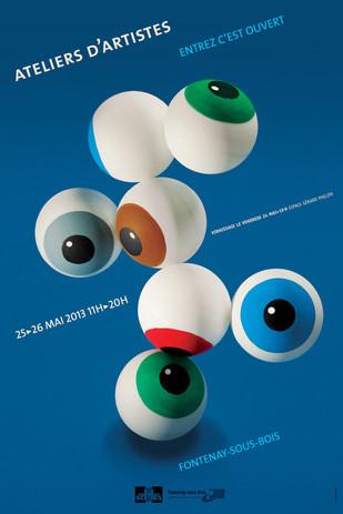 Affiche culturelle   Prise de vue en studio  d'une composition sur  le thème des regards  des artistes  Fontenay-en-scène (2013)