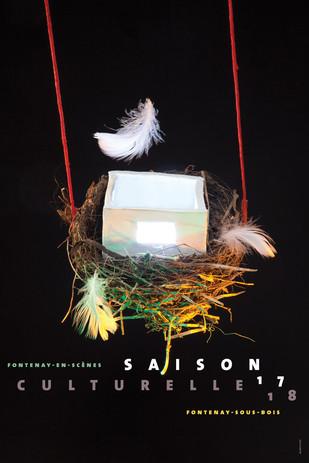 Affiche saison culturelle  Prise de vue en studio  d'une composition sur  le thème des transformations prévues (la future construction d'un théâtre)  Fontenay-en-scène (2018)