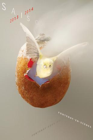 Affiche saison culturelle  Prise de vue en studio  d'une composition sur  le thème de lendemains meilleurs  Fontenay-en-scène (2014)