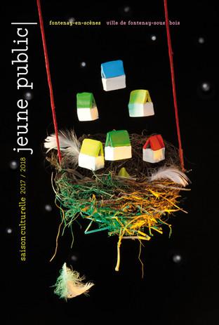 Affiche saison culturelle Jeune Public  Prise de vue en studio  d'une composition sur  le thème des transformations prévues (la future construction d'un théâtre)  Fontenay-en-scène (2018)