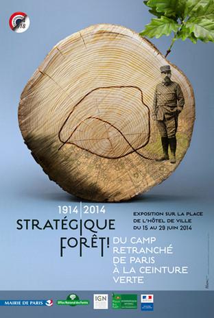 Affiche Mission Centenaire  Prise de vue en studio  d'une composition pour la commémoration de  l'action des gardes forestiers et de la forêt en 14-18  Onf-Ign (2014)