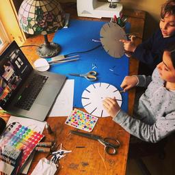 Workshop participants making phenakistoscopes