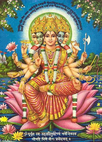 Déesse Gayatri et mantra. chant védique
