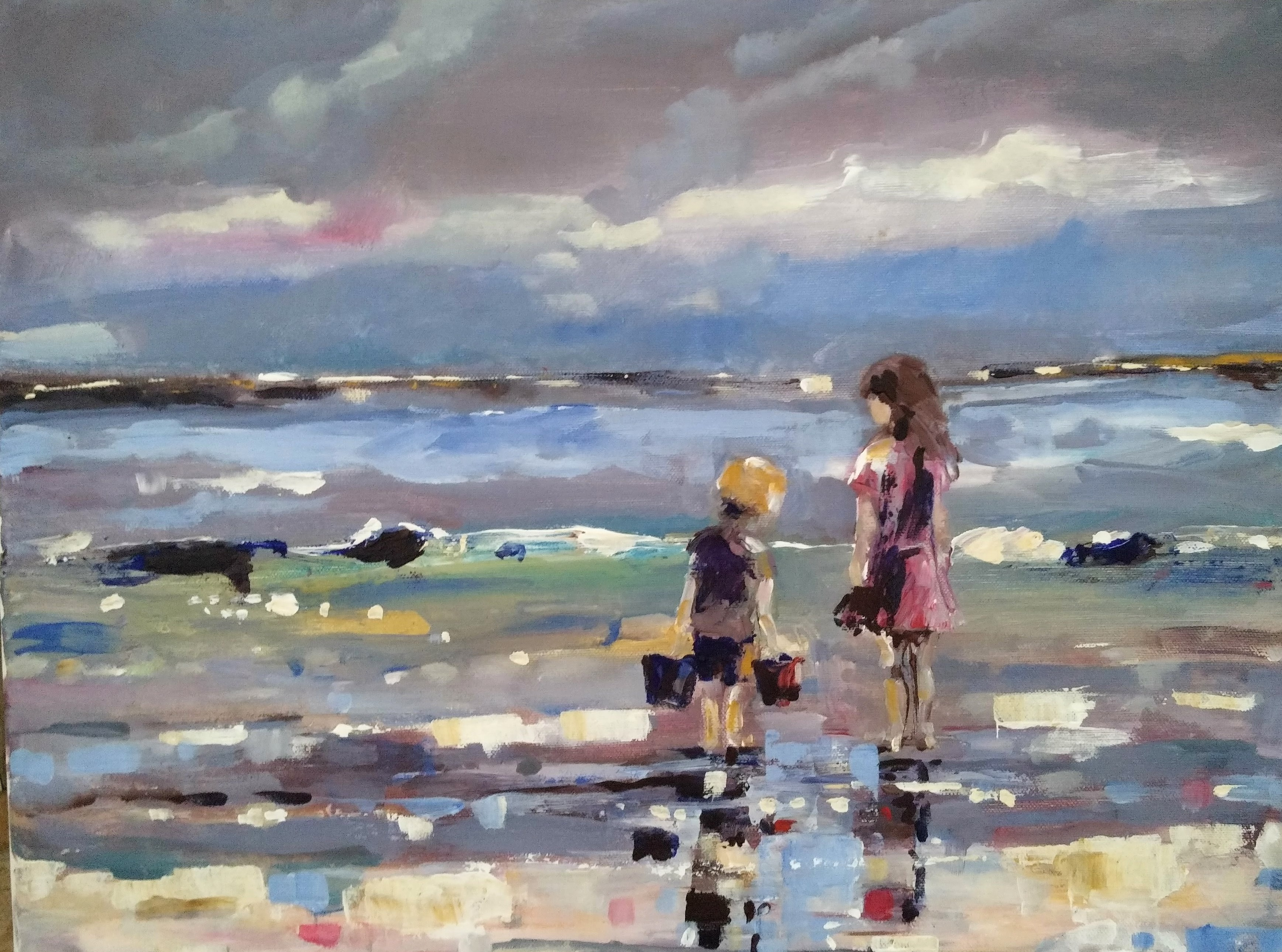 Children Playing at Evening Tide