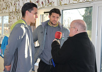 Middlesbrough Football Club players being interviewed by BBC Radio Tees at Mandale House Care Home