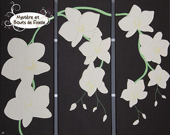 Peinture sur corde - Triptyque orchidées