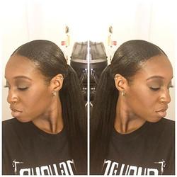 Client selfie😜😜 #ponytail #sleek #naturalhair #linaturalhairstudio #beauty #naturalsrock #baldwins