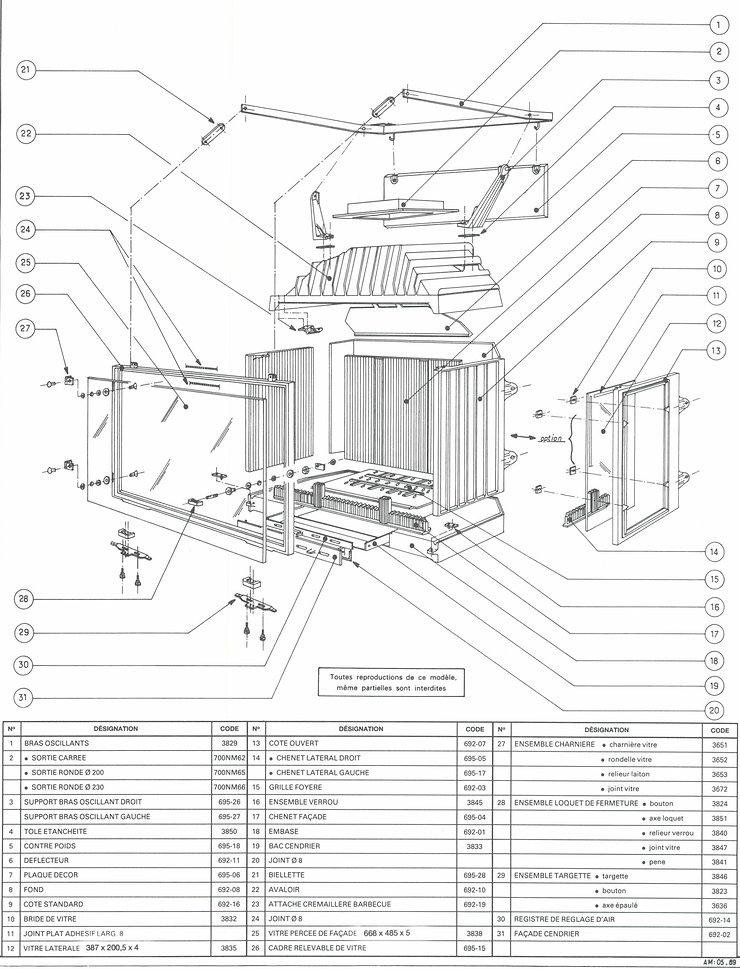 Insert Superchauff 695 TX Godin Pièces détachées Cheminées Philippe Les Radiantes