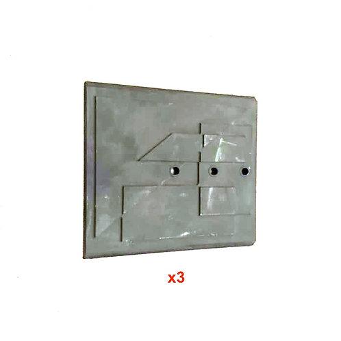 Pièces détachées Plaque Décor en 3 parties 6585 1001 10016585 12006585 1200 Insert pièce détachée Radiantes Radiante Foyers
