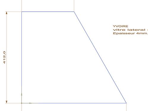 Vitre Latérale pour Poêle Yvoire - 472x412x236 Ep.4mm
