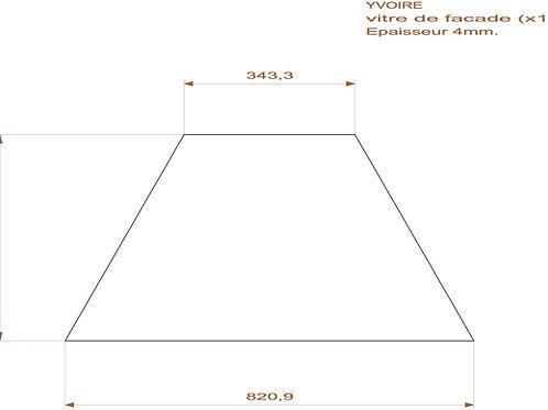 Vitre de Façade du Poêle Yvoire - 820,9x414x343x3mm Ep.4mm