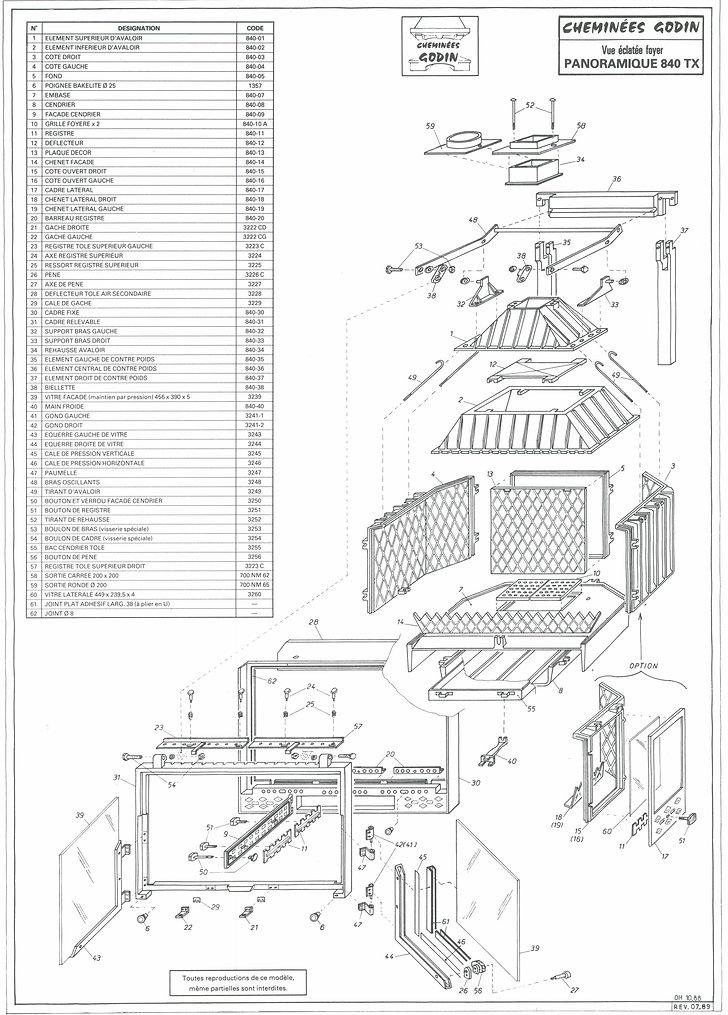 Insert 840 TX 840TX Godin Pièces détachées Cheminées Philippe Les Radiantes